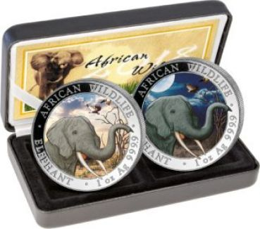 2 x 1 Unze Silbermünze Somalia 2018 SET - Elefant in Farbe | Day & Night