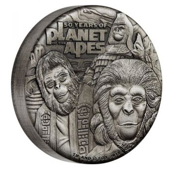 2 Unze Silbermünze Tuvalu 2018 High Relief in Antique Finish  | 50 Jahre Planet der Affen - Planet of the Apes 50th Anniversary