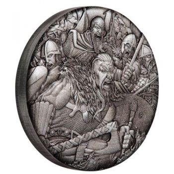 2 Unze Silbermünze Tuvalu 2018 High Relief in Antique Finish - Serie: Warfare  | Motiv: Vikings - Wikinger | 2. Ausgabe