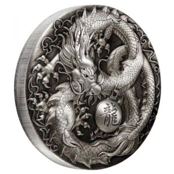 5 Unze Silbermünze Tuvalu 2018 in Antique Finish | Motiv: Drache - Dragon