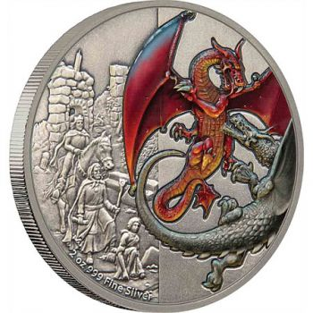 5 Dollar | 2 Unze Silbermünze Niue 2019  in Antique Finish | Serie: Dragons Collection - Motiv: The Red Dragon | 1. Ausgabe