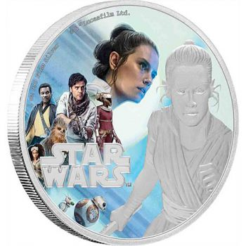 1 Unze Silbermünze Niue 2019 in Polierte Platte | Star Wars The Rise of Skywalker Serie - Motiv: Rey ™ | 2. Ausgabe