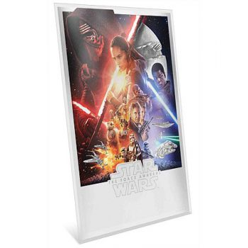Star Wars 2 Dollars Silbermünze Niue 2020 PP in Premium Silver Foil Poster Optik | Motiv: The Force Awakens