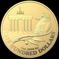1 Unze Goldmünze Australien 2020 - Kookaburra | World Money Fair - WMF Ausgabe: Brandenburger Tor