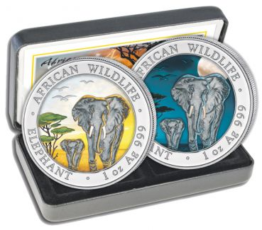 2 x 1 Unze Silbermünze Somalia 2015 SET - Elefant in Farbe | Day & Night Edition | Nur 500 Exemplare!