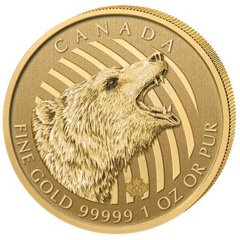 1 Unze 99999 Goldmünze Kanada 2016 - Call of the Wild Serie - GRIZZLY im Blister | 3. Ausgabe