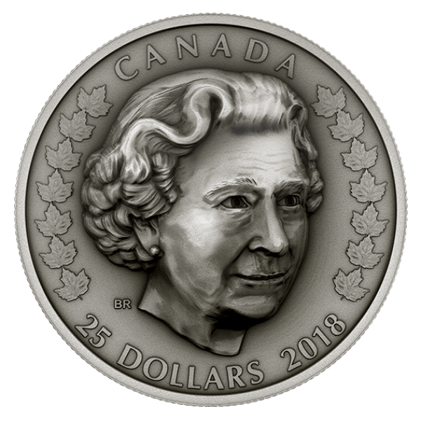 Kanada 25 Dollars Silbermünze 2018 in Antique Finish | Motiv: Elizabeth II: Die Matriarchin - Her Majesty Queen Elizabeth II: Matriarch of the Royal Family | Ausgabe: 3 von 3