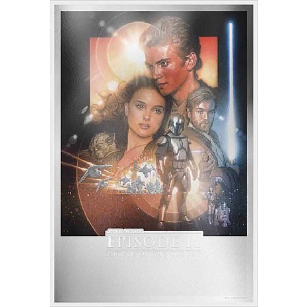Star Wars 2 Dollars Silbermünze Niue 2019 PP in Premium Silver Foil Poster Optik | Motiv: Attack of the Clones