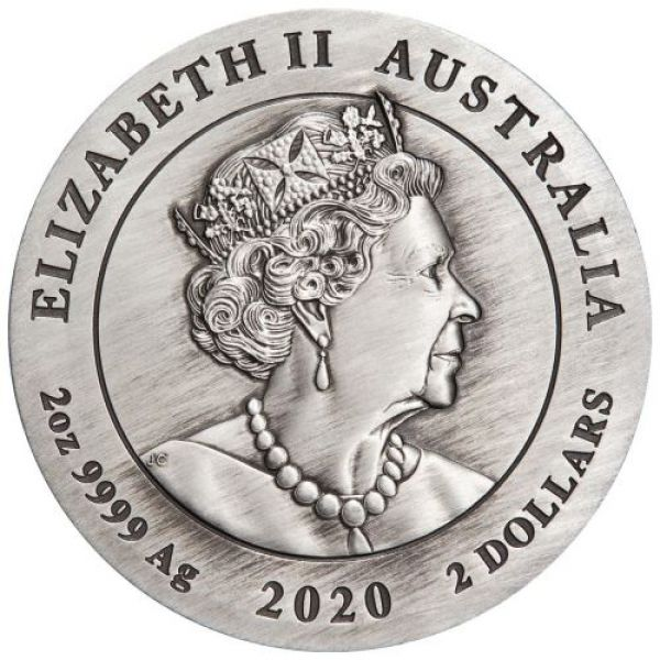 2 Unze Silbermünze Australien 2020 in Antique Finish - Lunar Serie - Motiv: MAUS