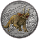 2 Dollar | 1 Unze Silbermünze Niue 2020 in Antique Finish | Serie: Dinosaurs Collection - Motiv: Triceratops | 2. Ausgabe