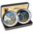 2 x 1 Unze Silbermünze Somalia 2016 SET - Elefant in Farbe | Day & Night Edition | Nur 500 Exemplare!