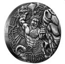 2 Unze Silbermünze Tuvalu 2016 High Relief in Antique Finish - Serie: Norse Gods | Motiv: THOR