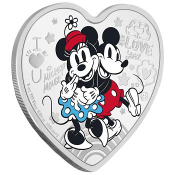 1 Unze Silbermünze Niue 2021 PP in Farbe | Disney`s Love Ausgabe | Mickey and Minnie Mouse - Ultimate Couple
