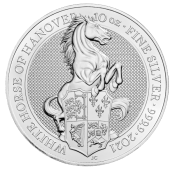 10 Unze Silbermünze Großbritannien 2021 - The Queen's Beasts | The White Horse of Hanover