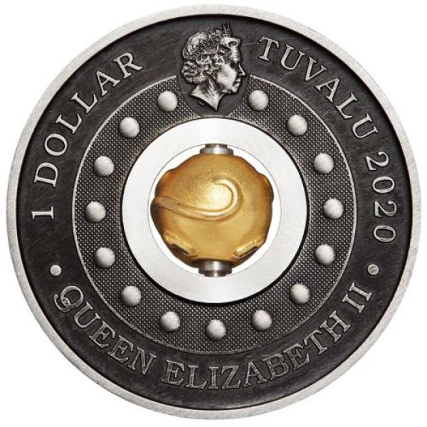 1 Unze Silbermünze Tuvalu 2020 Rotating Charm in Antique Finish | Lunar Serie - Motiv: MAUS